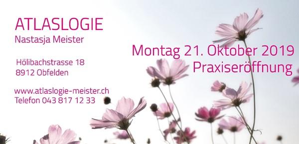 Atlaslogie Nastasja Meister - Praxis Eröffnung am 21.Oktober